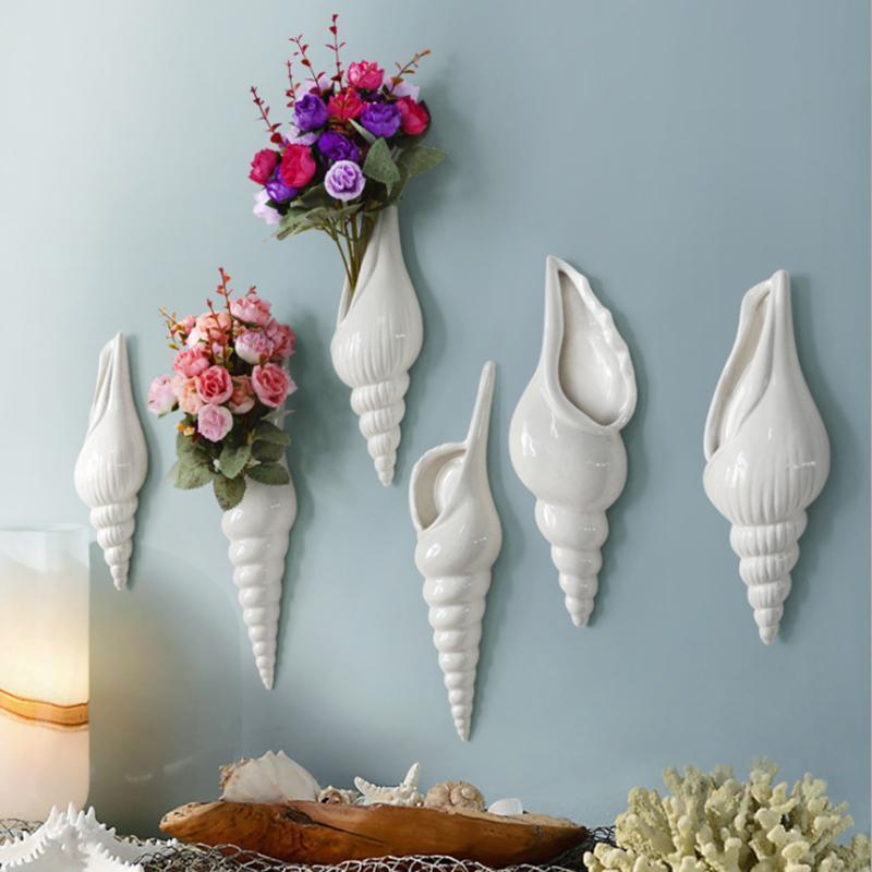 Modern Conch Shape Wall Mounted Flower Vase Home Decorative Mural Restaurant Hanging Sculpture Flowers Holder E