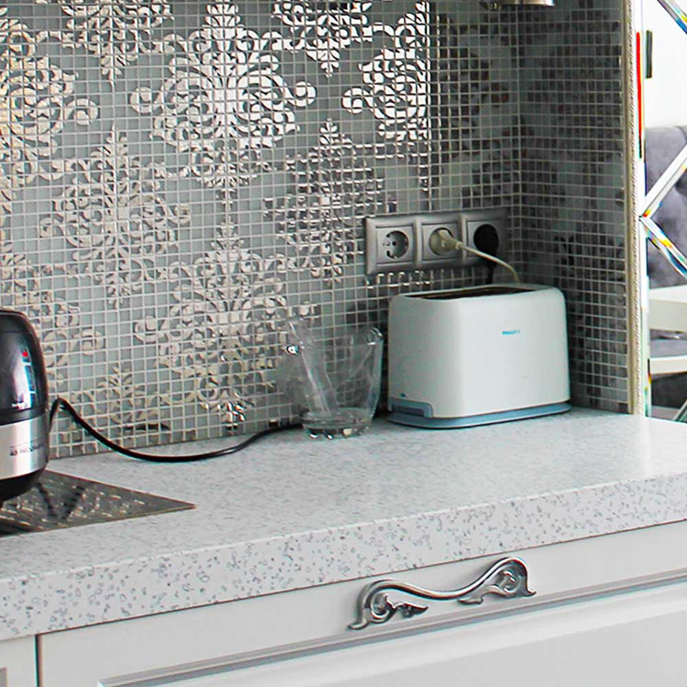 Delightful Kitchen Wall Tile Crystal Gl Mosaic Tiles Puzzle Mirror Surface Stickers Silver Gold