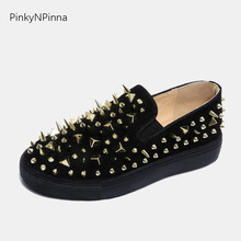 2019 new flat loafers unisex slip on luxury glitter metallic rivets spikes studded Gothic street style young casual shoes woman