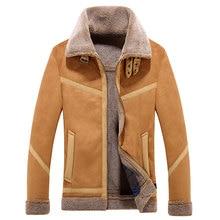 Brieuces Winter Faux Fur Jacket Men Turn-down Collar Fleece Thick Jackets Outwear Warm Thicken Coat Zipper