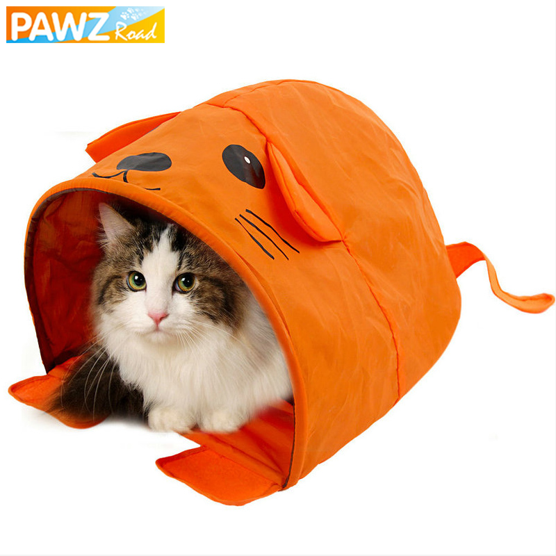 Cartoon Mouse Shape Cat Tent With Sound Cat Toys Collapsible Pet Sleeping Bed Tunnel For Puppy Kitten Pet Cute Animals House