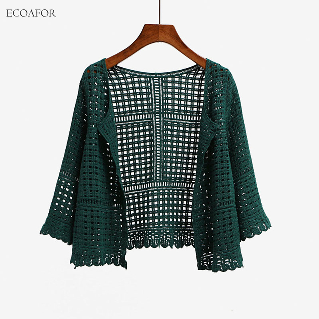 3 Colors Women's Three Quarter Sleeve Crochet Shrug Female Lace ...