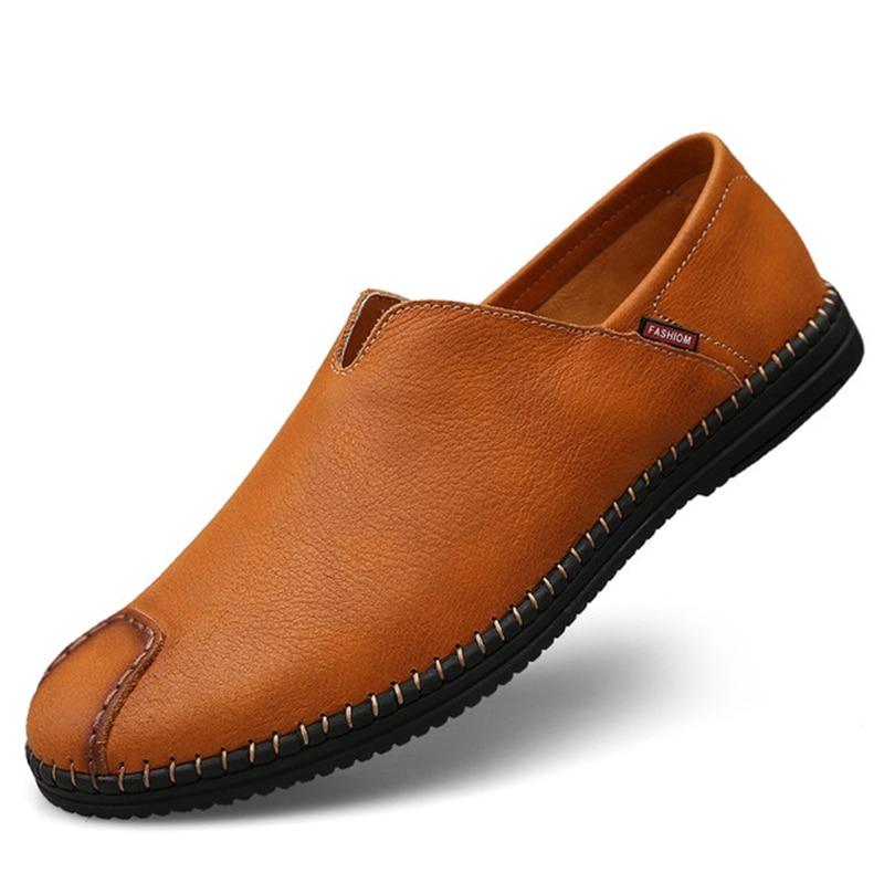 amarelo Baixos Preto Deslizar Homens Confortáveis Mocassins Condução Aa11629 marrom Artesanais Sapatos Sobre De Preguiçosos Casuais Macia Sola Mens Couro UwtHfxtqA
