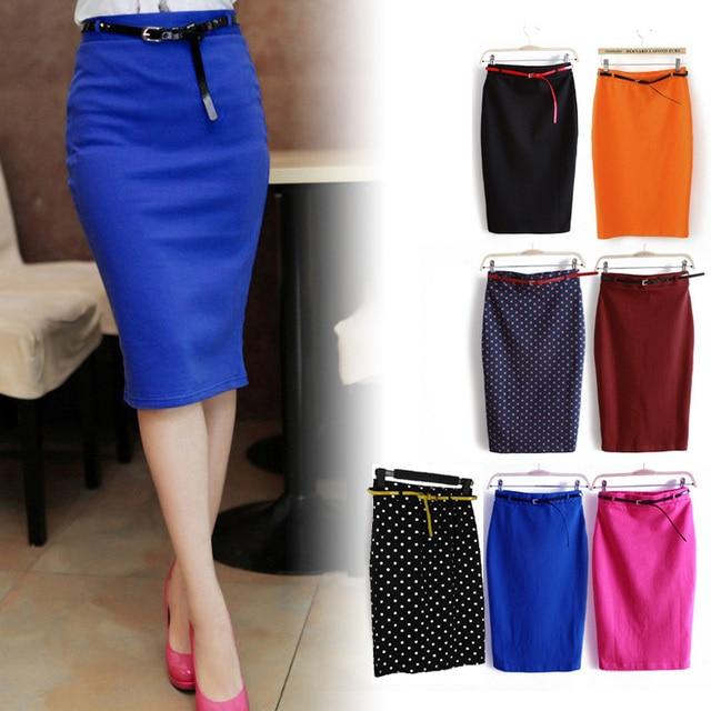 2015 лето Стиль женщины тонкие бедра юбка уличная мода среднего юбка осень женщина шаг ОЛ Тонкий юбка в горошек с поясом XXL