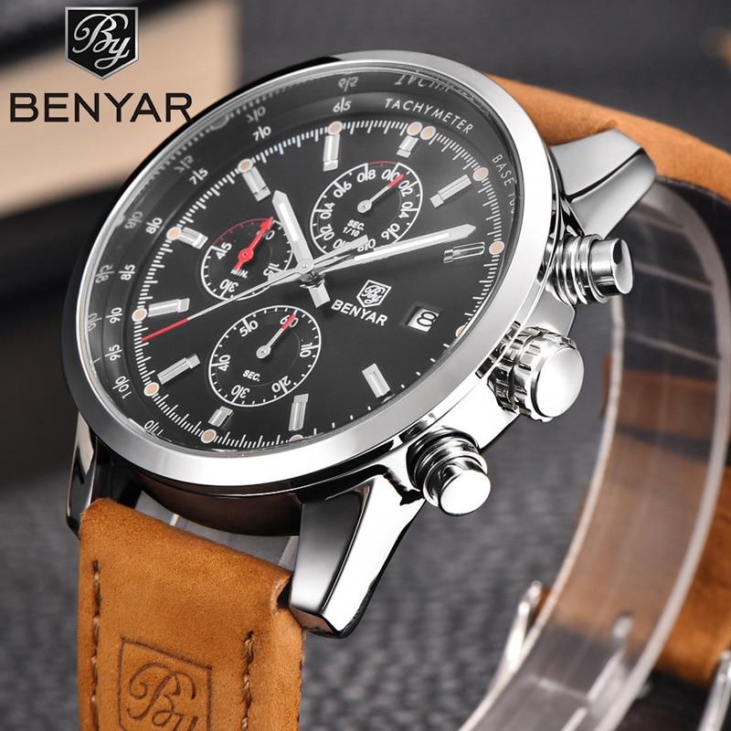 Мужские часы BENYAR, спортивные часы с кожаным ремешком, кварцевые наручные часы 5102|Кварцевые часы|   | АлиЭкспресс
