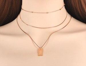 Lokaer Trendy Titan Stahl Drei-schicht Königin Porträt Charme Halsketten Schmuck Anhänger Kette Halskette Für Frauen Collier N19078