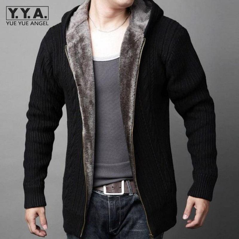 New Arrival Mens Cardigans Sweaters Casual Hooded Zipper Mens Sweaters Winter Warm Thicken Fur Lining Hombre Knitwear