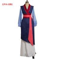2017 Female Cosplay Adult Princess Mulan Costume Blue Dress FilmMovie Party Halloween Outfit Custom