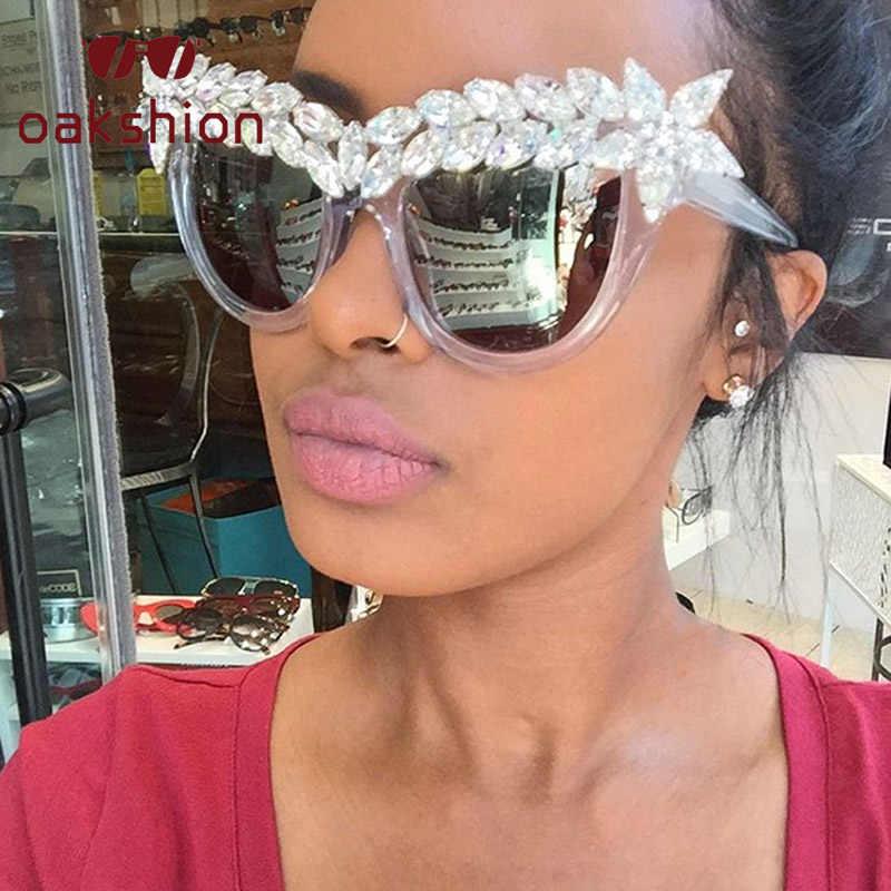 Moda luxo olho de gato diamante óculos de sol feminino cristal strass óculos de sol grandes dimensões quadro bling tons de sol 2018