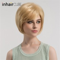 Esin Cute Short Hair Wig with Natural Bangs Pixie Cut 613# Blonde Synthetic Short Straight Haircut For White Women Free Shipping