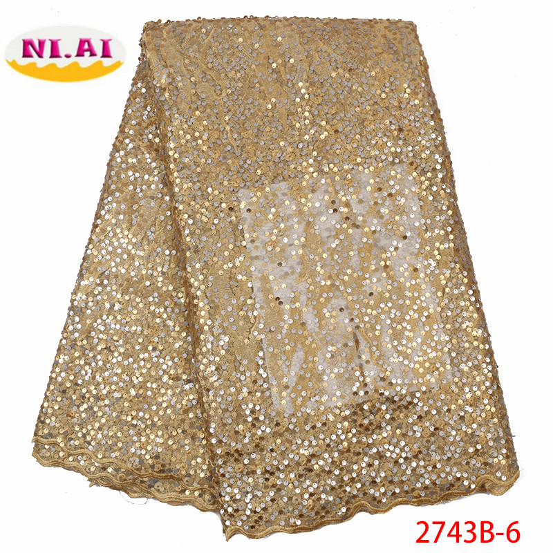 African Sequins Net Lace Fabric High Quality 2019 Nigeria Indian Embroidery Guipure Mesh Gold Sequined Lace