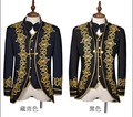HOT 2016 New fashion slim palace formal dress suit clothes royal embroidered singer stage costumes (Jacket + pants + vest + tie)