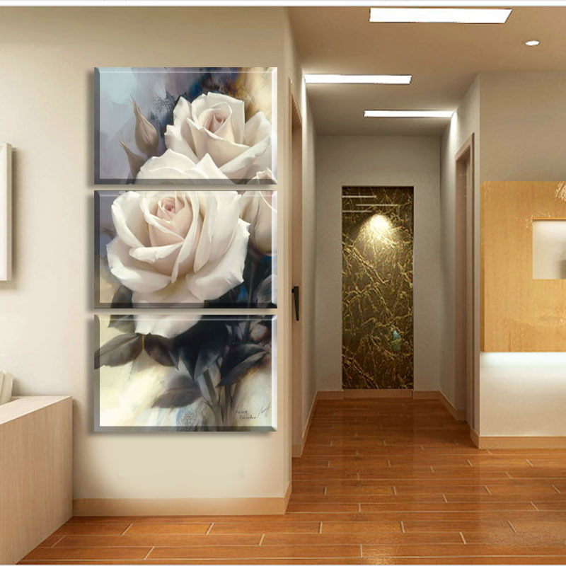 luxury rose flower canvas art wall painting 3 pieces pictures for living room home decoration in. Black Bedroom Furniture Sets. Home Design Ideas