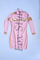 Latex Uniform Dress In Pink And Gold White Trim Including Waist Belt