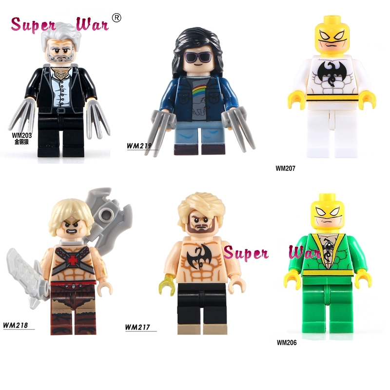 1PCS Super Hero Wolverine Movie Logan X-man X-23 Laura Kinney Iron Fist He-Man Building Blocks Models Toys For Children Kits