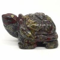 "Turtle Tortoise 2""Natural Dragon Bloodstone Carving Craft Healing Reiki Decor Statues & Sculptures    -"