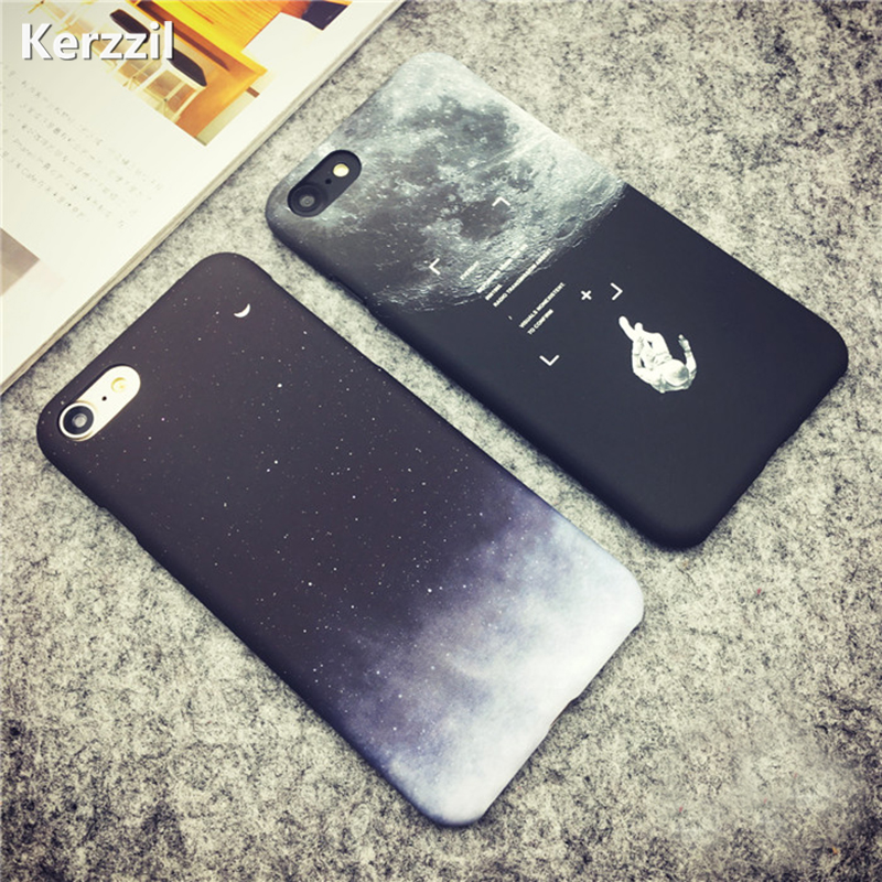 Kerzzil Astronaut Space Moon Stars Phone Cases For iPhone 7 6 6S Plus Cover Starry Sky Hard PC Back For iPhone 6 7 6S Capa ...