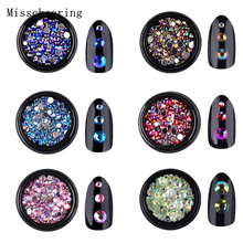 1pc Colorful Acrylic Nail Art Glitter AB Rhinestone 3d Tiny Nail Tips Decorations Silver Flatback Charm Manicure Accessories DIY цены
