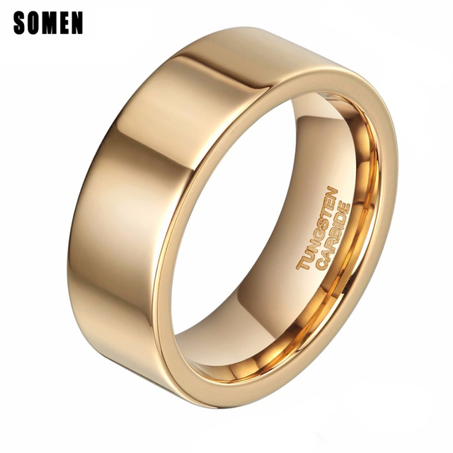 8mm Luxury Ring Men Pure Gold Tungsten Ring Wedding Band Engagement
