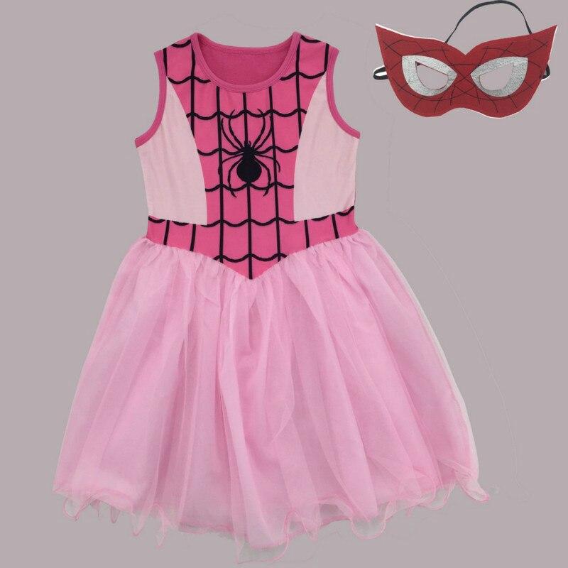 Человек-паук Платья для женщин для маленьких девочек одежда Человек-паук костюмы детское платье Детская одежда принцессы на Хэллоуин празд...