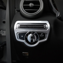 ABS Chrome For Mercedes Benz GLC 2016 2017 2018 Car left middle control box decoration cover trim sticker accessories styling for mercedes benz glc 2016 1pc abs chrome glc260 frame headlight adjustment trim cover moldings car styling accessories