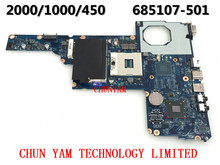 original FIT FOR HP 1000 450 2000 laptop motherboard 685107-001Notebook PC mainboard 685107-501 100% Tested 90 Days Warranty