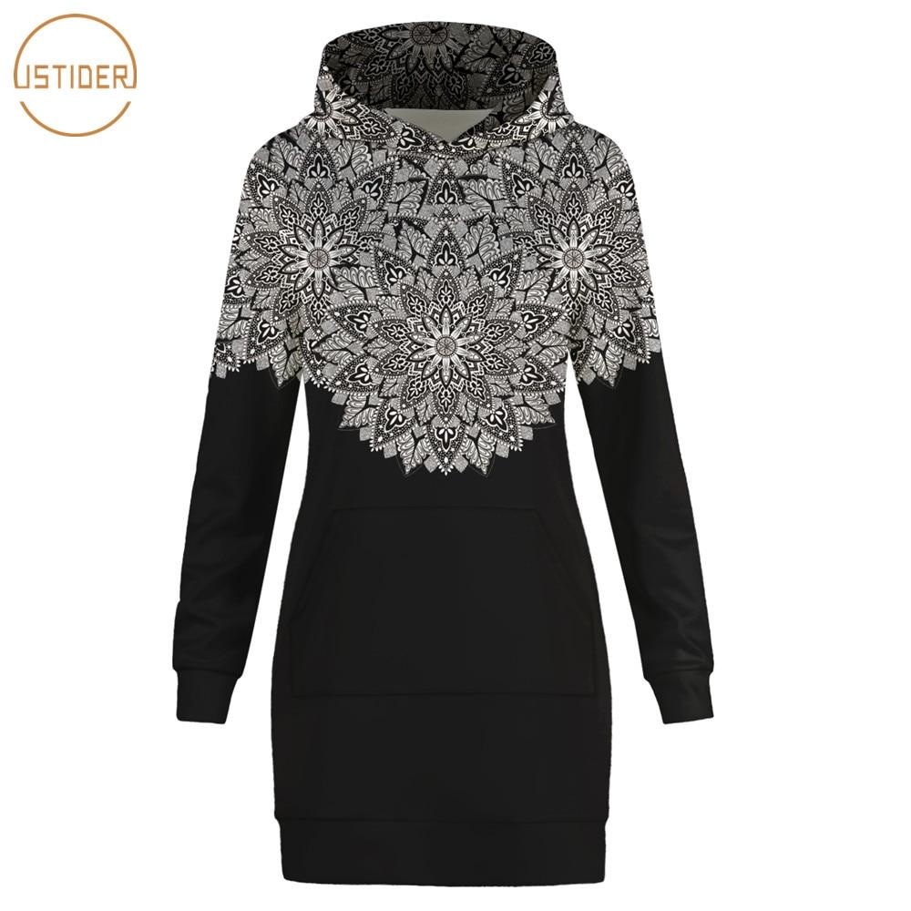 ISTider Newest Autumn/Winter Thin Black Hoodie Dress Women Casual Sweatshirts Mandalas Floral Print Long Sleeve Long Tracksuits
