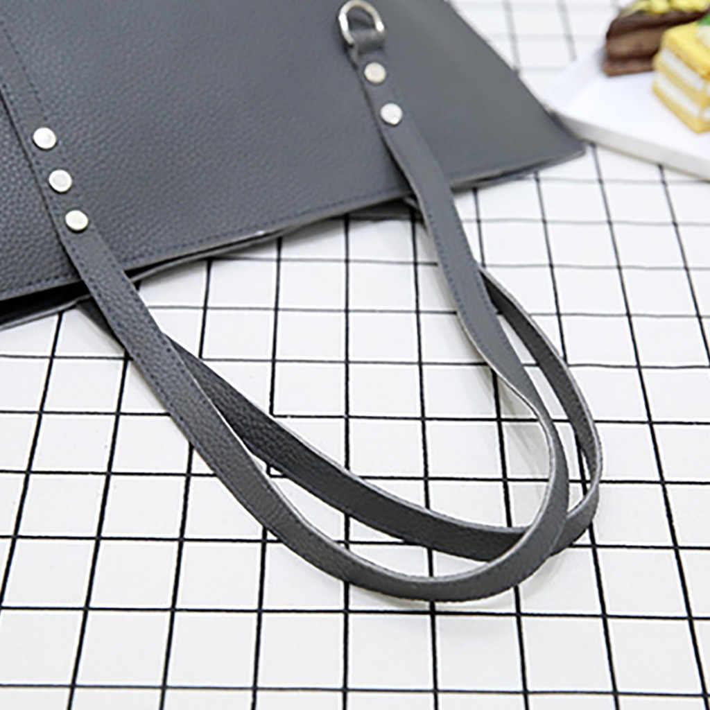 4 шт., женская кожаная сумка с узором + сумка через плечо + сумка-мессенджер + Сумка-посылка для карт, однотонные элегантные женские сумки на молнии