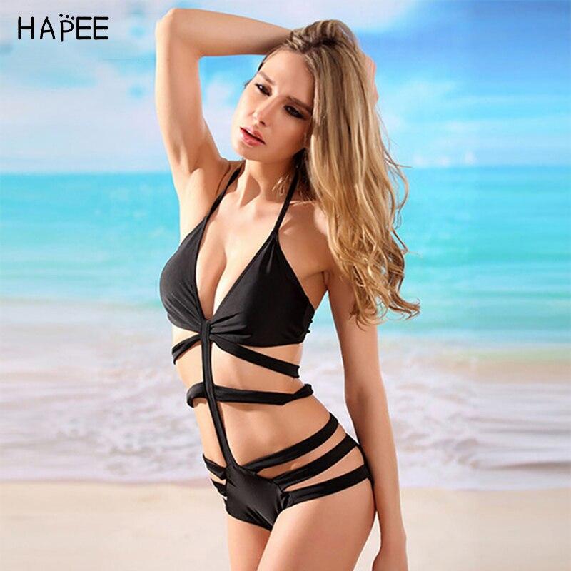 Buy 2017 Sexy Women High Waisted Cut Bandage/Bondage/Hollow Halter Black Swimwear/Swimsuit/Bikinis/Monokini