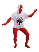 (LS027) Blanco y Rojo Spderman Superhero Lycra Spandex Cuerpo Completo Patrón Multicolor Zenai Fetiche Trajes de Disfraces de Halloween