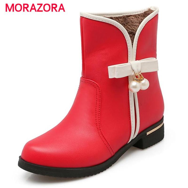 1d99866fee76ad ̿̿̿(•̪ )MORAZORA Med talons chaussures bowtie perle décoration ...