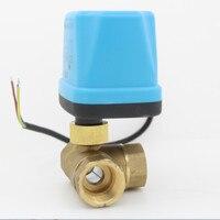 3 way motorized ball valve 12V 24V 220V electric ball valve electric actuator brass ball valve 3 Wire DN15 DN20 DN25 DN32 DN40