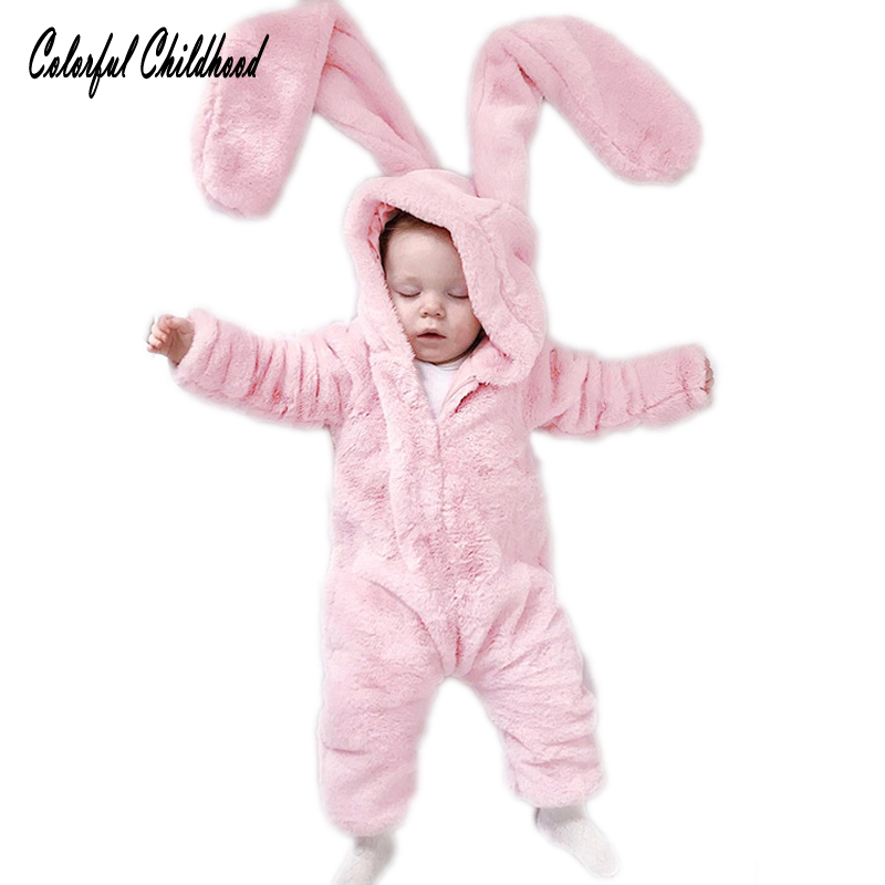 New Autumn winter Baby Rompers Cute Cartoon Rabbit Infant Girl Boy Jumpers Kids Baby Outfits Clothes newborn thick warm jumpsuit