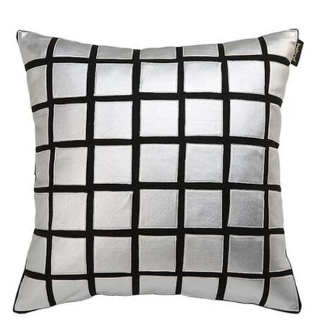 Black silver woolen PU leather model pillowcase designer cushion set of modern