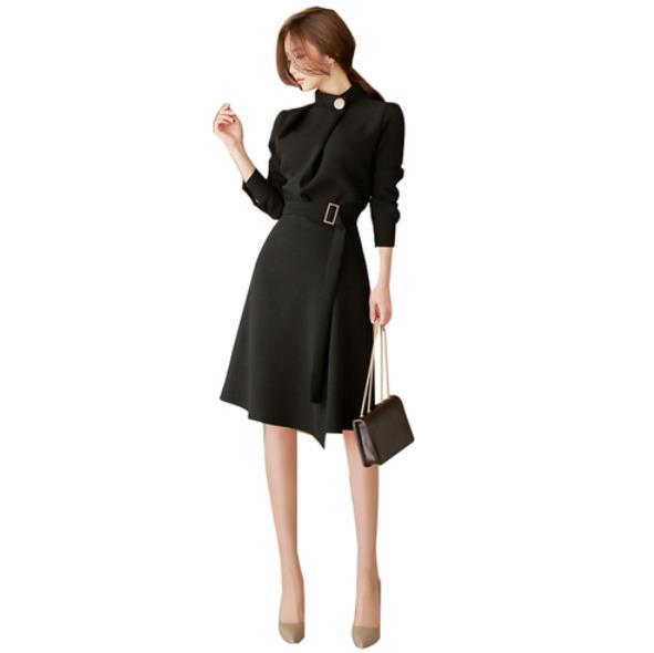 فستان بحزام للنساء لموسم خريف 2019 فساتين أنيقة بأكمام طويلة فساتين مكتب للسيدات ملابس Vestido رداء LM53