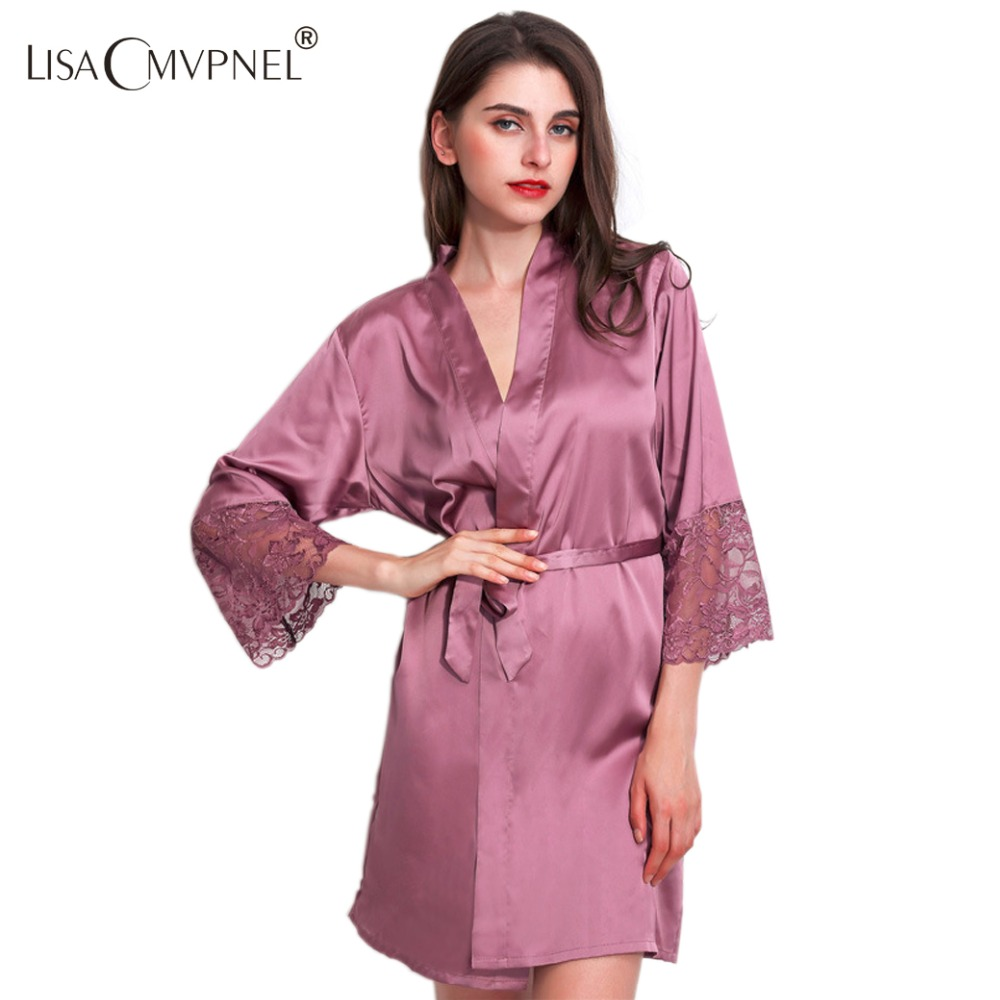 Lisacmvpnel Rayon Lace Women Robe Half Sleeve Loose Female Bathrobe Women  Casual Nightwear-in Robes from Women s Clothing   Accessories 5526fa8aa