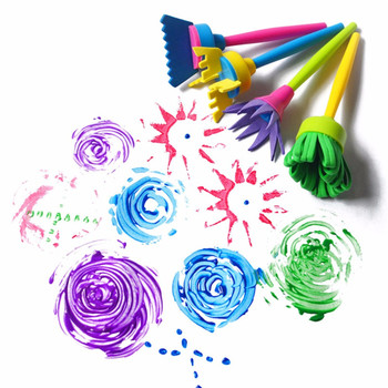 4Pcs/set Baby Graffiti Rotate Spin Sponge Brush Handle Art DIY Painting Tools Funny Colorful Flower Pattern Drawing Toys Gift