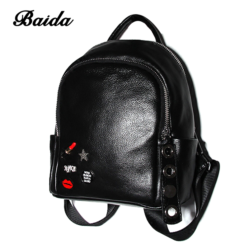 Baida Brand Cute Lipstick Genuine Leather Backpack Women's Designer Black Cartoon Travel Bags School Bags For Teenager Girls zooler women s backpack eyes sequined designer black cartoon eyes backpacks travel bag cute shell backpacks for teenager girls