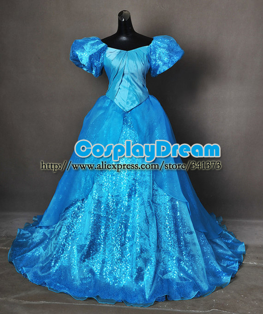 Park Sequin Ariel Little Mermaid Adult Cosplay Costume Ball Gown ...