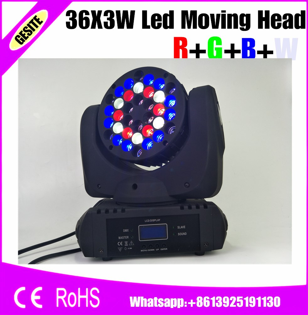 6pcs/lot Led Beam Moving Head Light 36x3W RGBW Color With DMX DJ Sound Activated MIni Stage Lights
