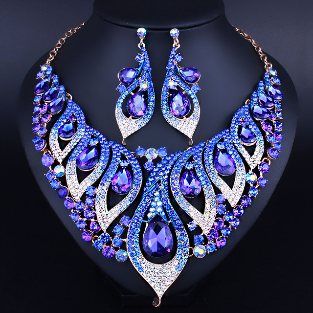 Beautiful Morning Glory Statement Crystal Necklace Earrings set for Women Christmas Party Jewelry  African Beads Jewelry sets