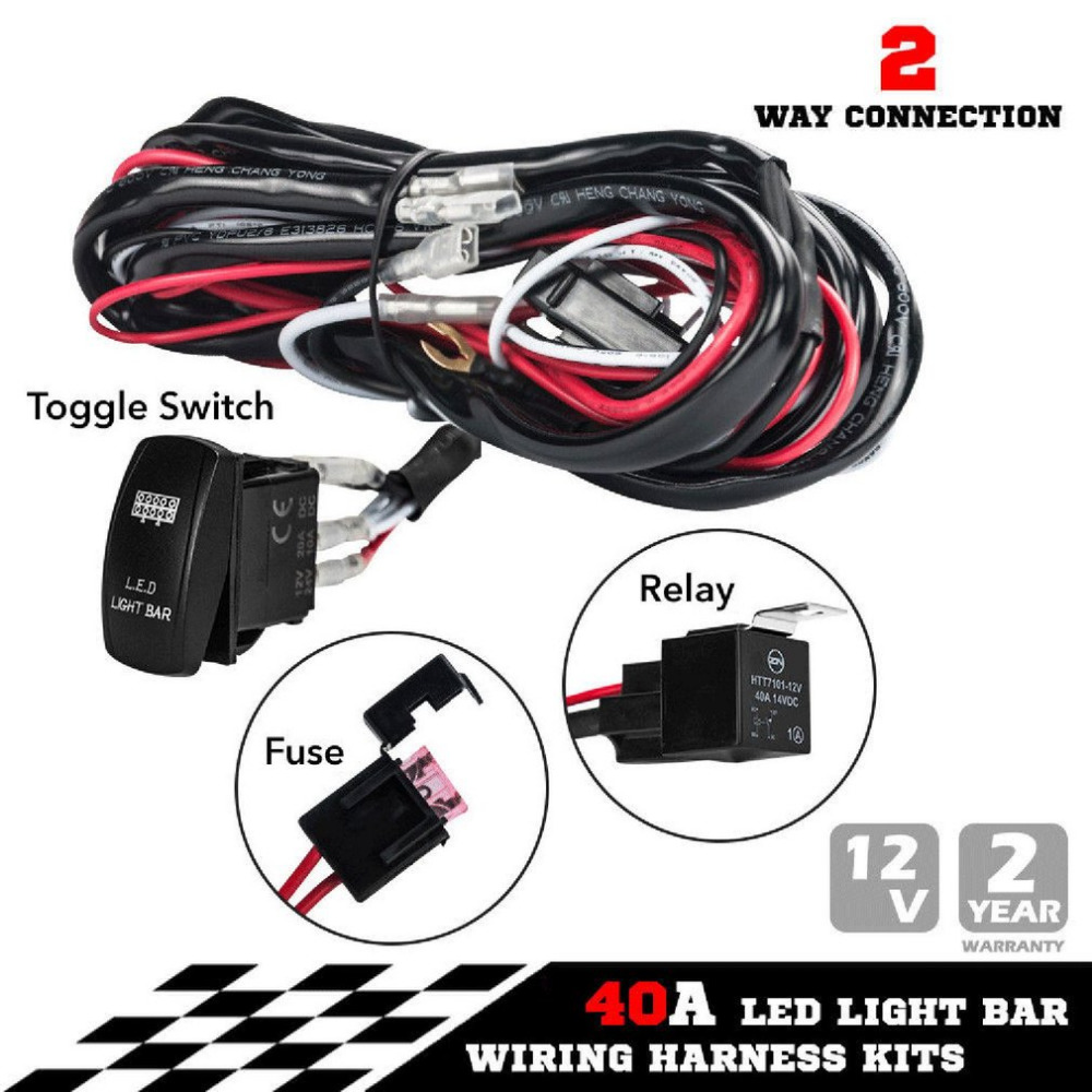 Sale Universal 12v 40a One To Two Led Light Bar Wiring Harness Bulbs In Series Rocker Switch Kits