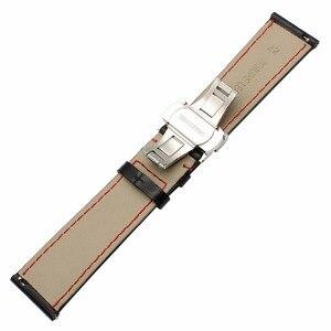 Image 4 - حقيقية العجل جلدية Watchband لسامسونج غالاكسي ساعة 46 مللي متر 42 مللي متر نشط 2 40 مللي متر 44 مللي متر فراشة المشبك الفرقة الرياضة حزام سوار