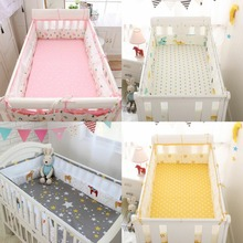5 шт., хлопок+ сетка, дышащая детская кроватка, детская кроватка, бампер, защита от столкновений, новорожденная кровать, окруженная безопасными рельсами, постельные принадлежности
