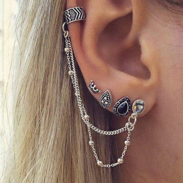 4 Pcs/Set Women Fashion Ear Bone Earrings Integrated Earrings Punk Metal Ear Clip Europe and The United States Ear Clip Jewelry