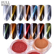 Full Beauty 1g 3D Cat Eye Magnet Nail Glitter Powder Magnetic Mirror Effect Pigment Nail Art Decorations Polish Gel Dust CH177