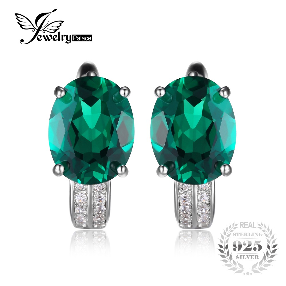 Aliexpress Jewelrypalace Solid 925 Sterling Silver 3 5ct Created Emerald Earrings Genuine Real Pure Vintage Charm Fine Jewelry For Women From