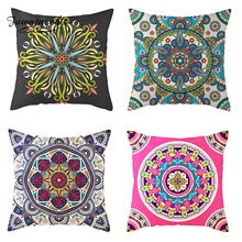 Fuwatacchi Colorful Mandala Floral Nordic Cushion Cover Purple Green painting Flowers Throw Pillow Linen Pillowcase