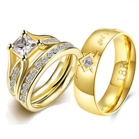 Stainless Steel Wedding Rings Set Couple for Lovers Cubic Zirconia Ring Set for Girl God is Love StatementLord of the Rings