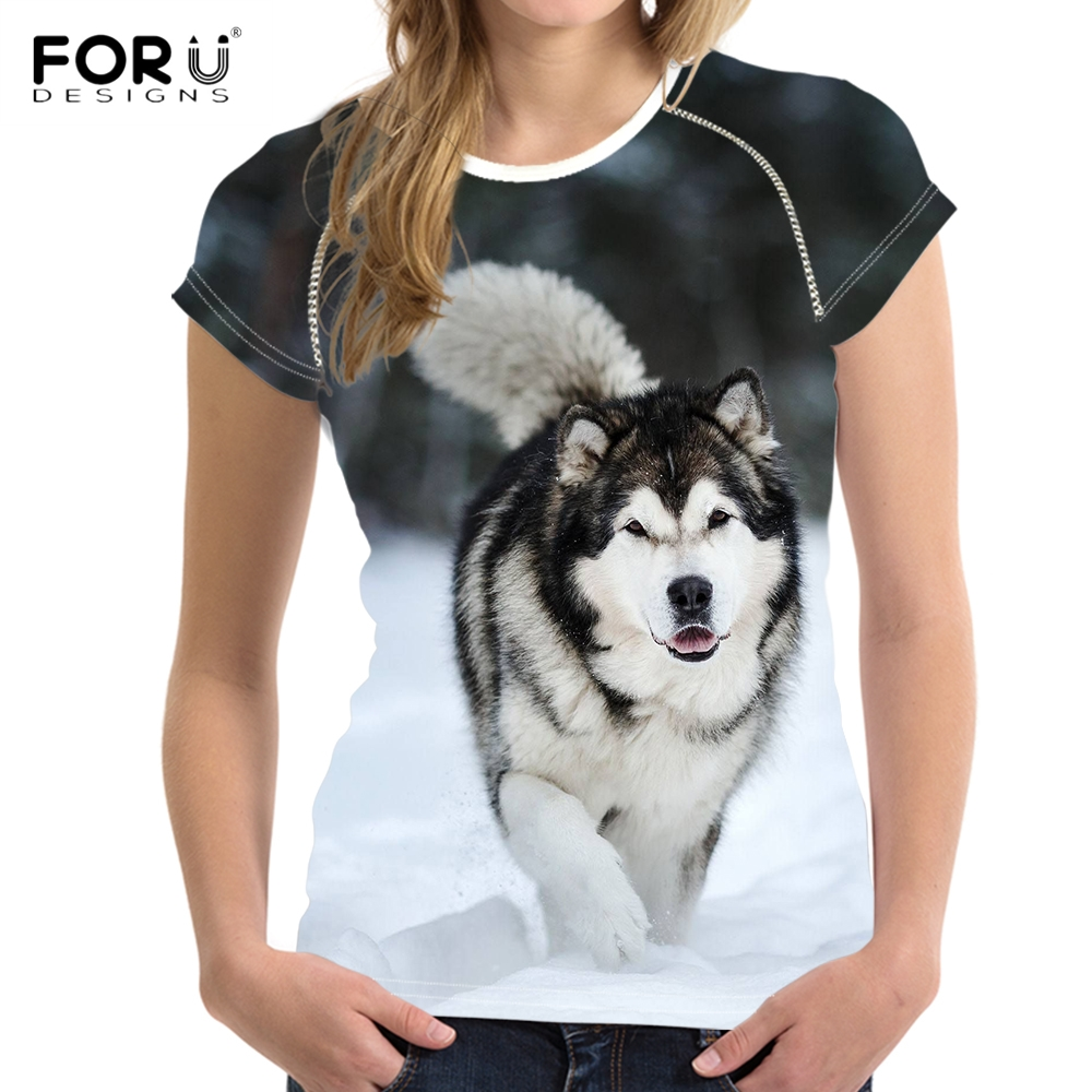 FORUDESIGNS Cool 3D Dog Alaskan Malamute Print T Shirts Women Fashion Brand Female Summer Short Sleeve Tees Casual Fit T-shirts